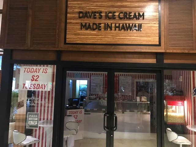 Dave's Ice Cream is in the lobby servicing the best ice-cream in the islands.