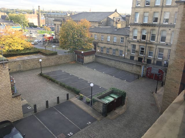 Overhead view of the secure car park