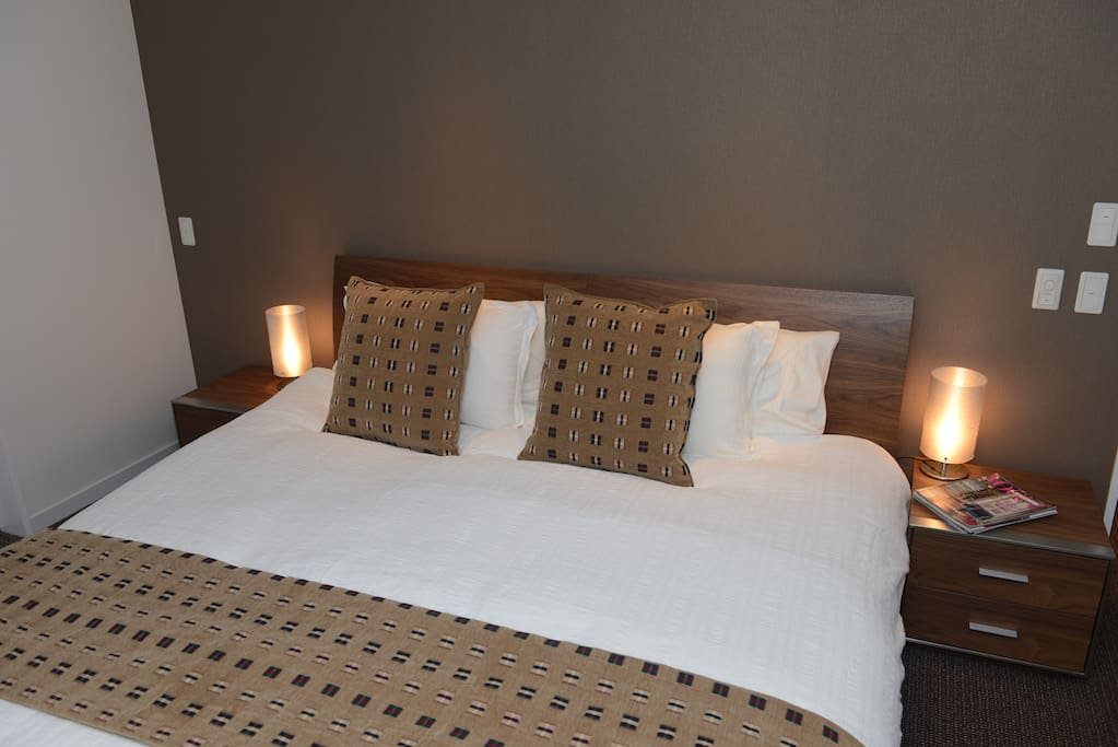 Bedrooms feature king size beds that can be separated into singles.