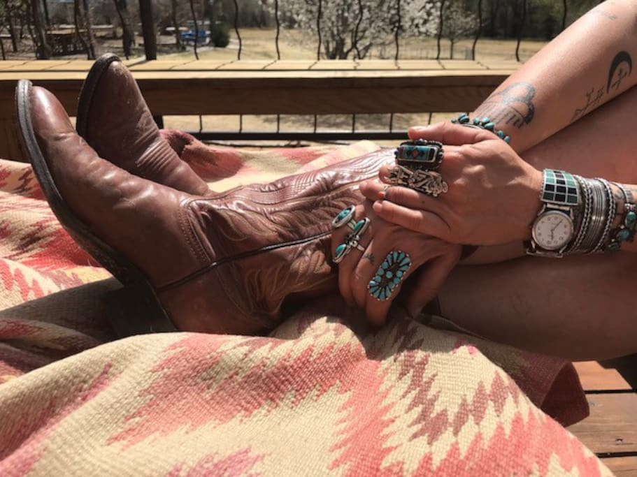 Guest relaxing in the cool New Mexico spring