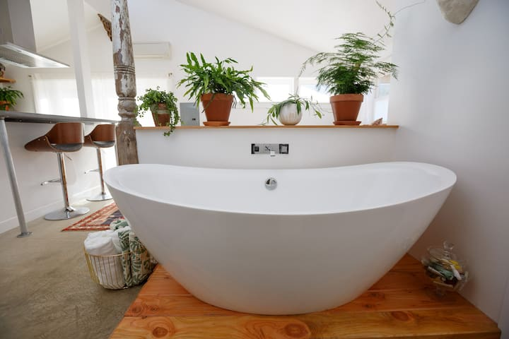 Our Gorgeous open air soaking tub.