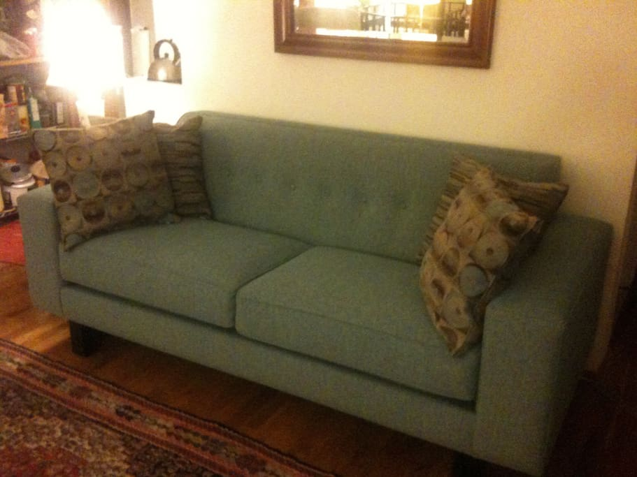 Sofa in communal living area.
