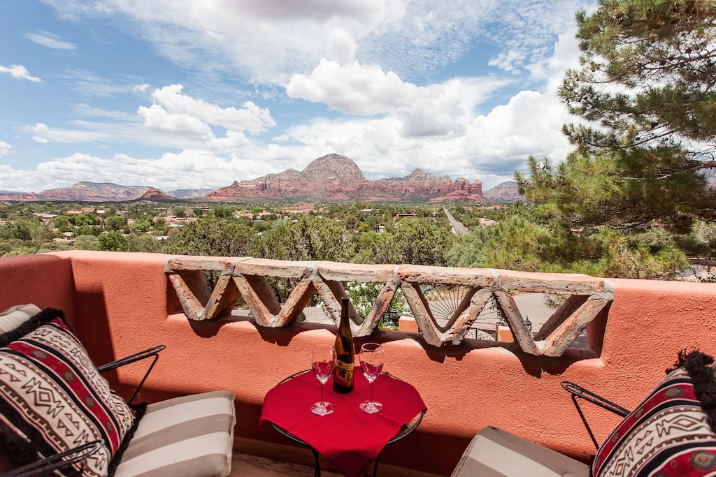 Spectacular panoramic red rock views from the balcony off of the living room.