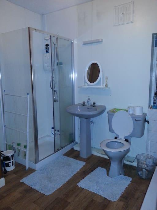 Bathroom with electric shower and bath tub
