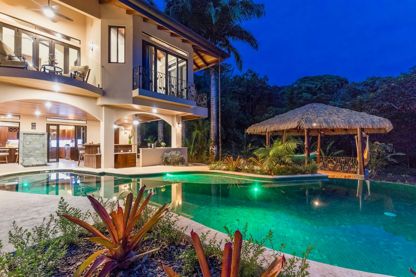 Big Outdoor Living Space, Illuminated Tropical Evening