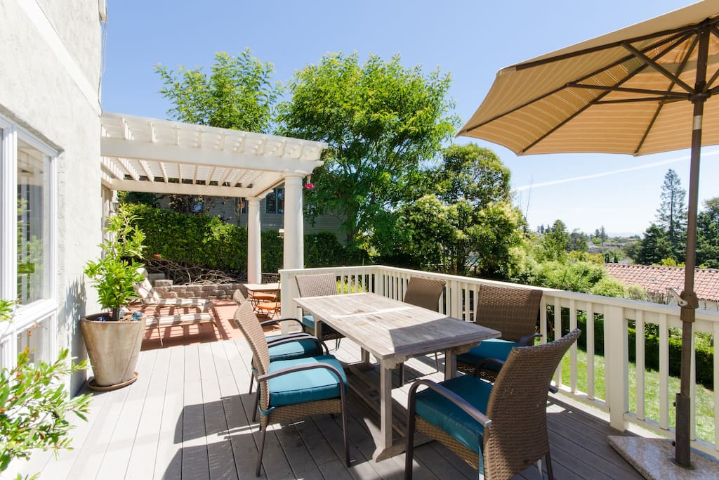 Large Deck - sunny south facing, with grill and view across east bay