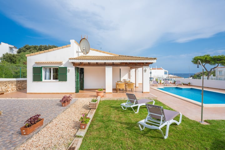 Cozy Villa Alcaufar with Ocean View, Pool, Terrace & WiFi; Parking Available, Pets Allowed