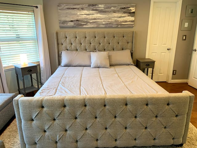 Stretch out and relax in this very comfortable California King bed in the master bedroom