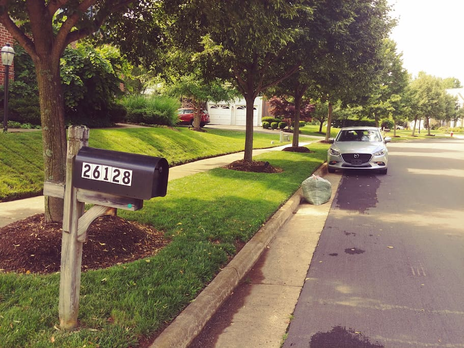 Park on Street at least six feet from mail box.