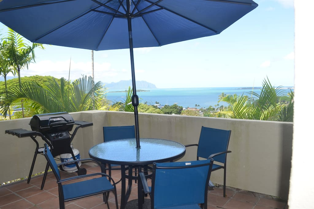 Lanai off the studio for studio use with table, chairs and barbecue grill.