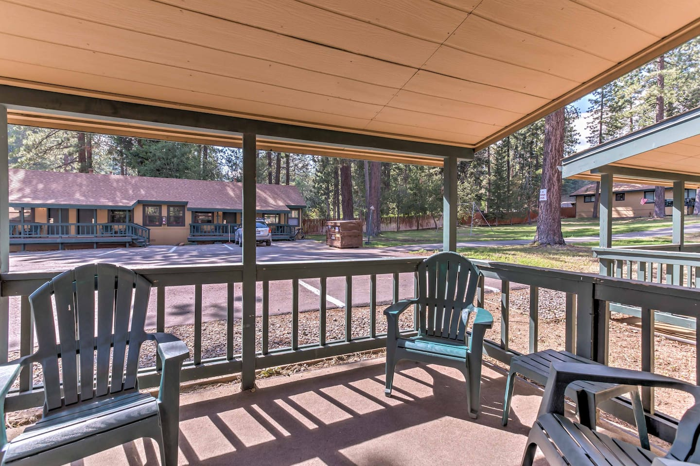 Relax on the covered patio and enjoy the quiet neighborhood.