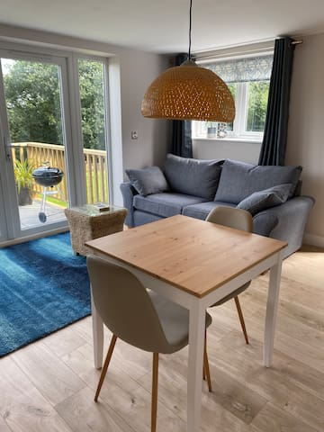 Dining table for two - a third chair is in the bedroom for a child