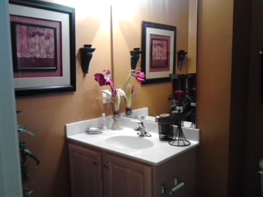Private bathroom with fullsized tub and shower
