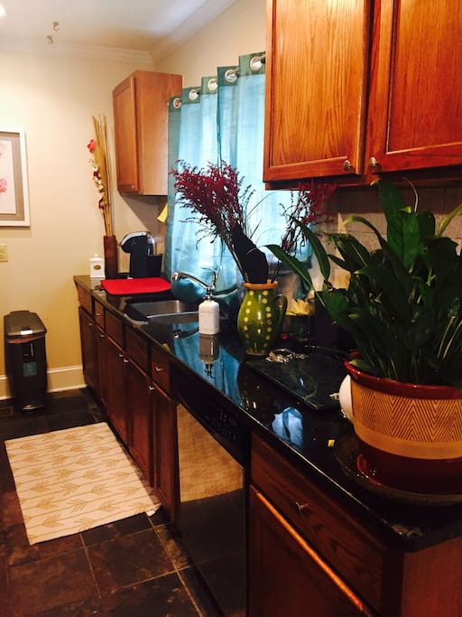 Enjoy the kitchen!  It has a Keurig coffee maker, microwave, and all utensils.