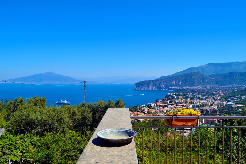 Breathtaking view from the balcony overlooking Sorrento and Mount Vesuvius