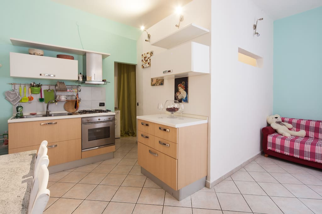 The kitchen is fournished with all amenities (pots, dishes, etc)