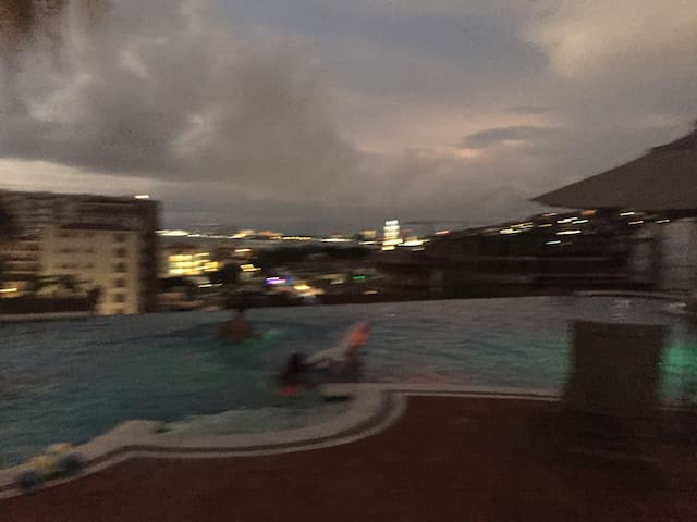 Evening view from the pool, overlooking Puerto Vallarta!