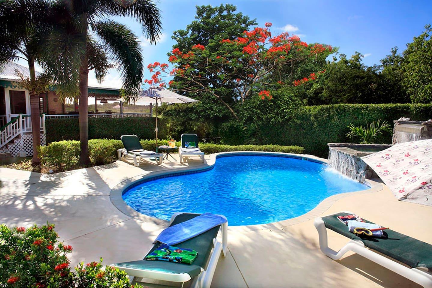 Villa Verandah private pool and waterfall.