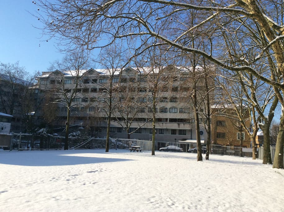 Apartment block and square garden in front