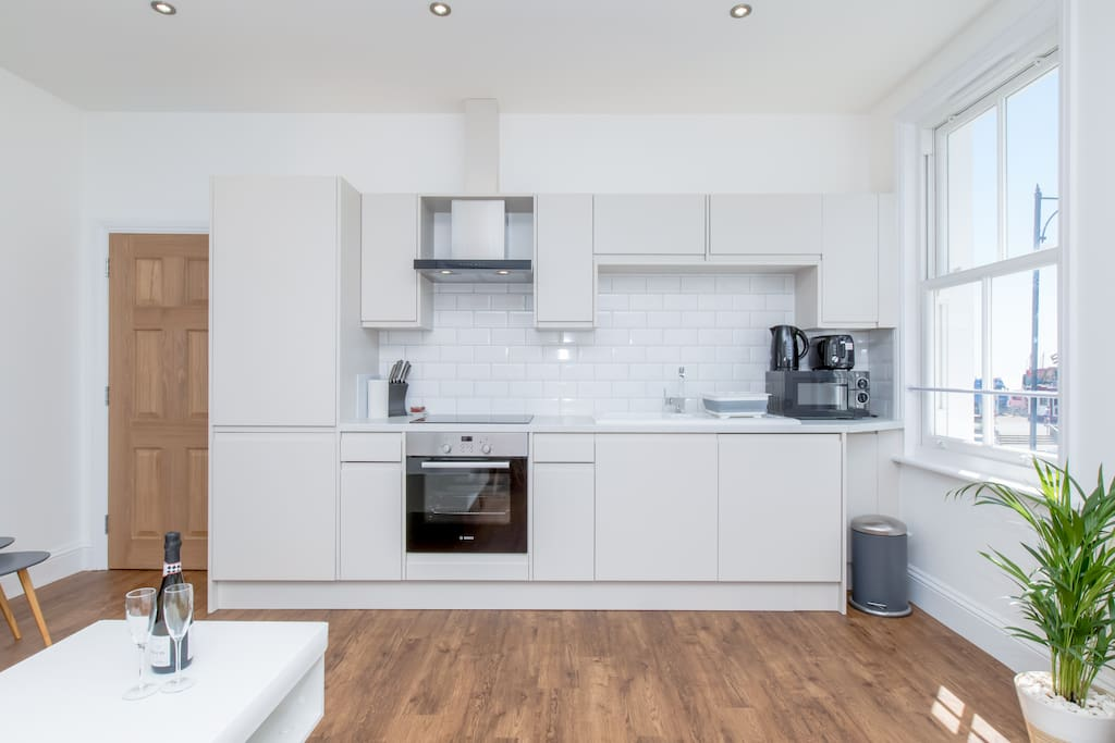 Bright, clean kitchen living area