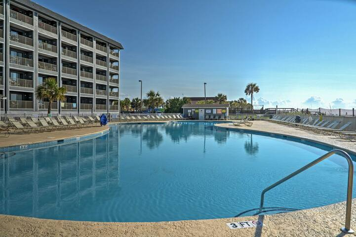 Soak up the sun as you swim laps in the outdoor pool.