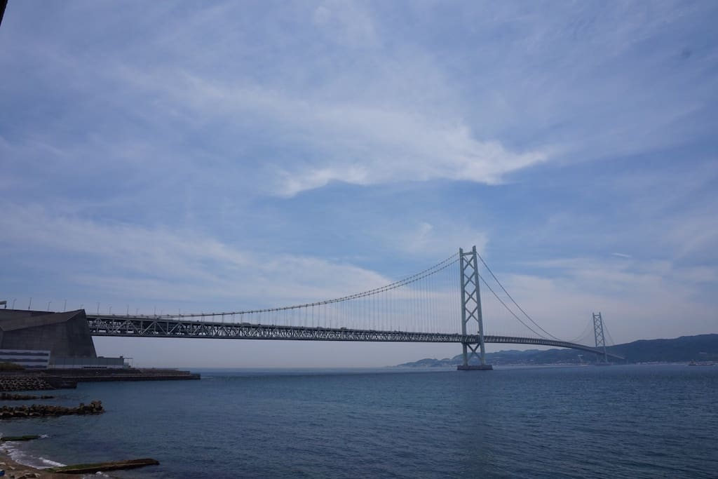 View of Akashi-Kaikyo bridge in the afternoon
