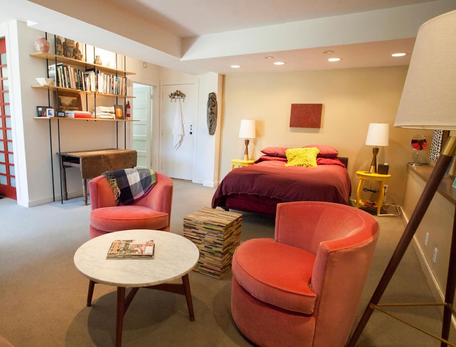 A warm and light filled room on the ground floor, quiet and private
