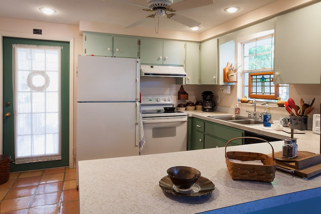 Well appointed kitchen for cooking at home. Even a mixer for making cookies!