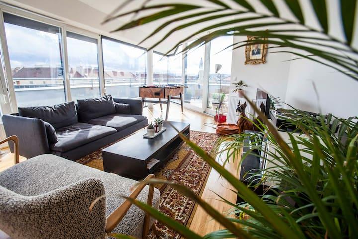 bright and cozy guestroom in rooftop loft - Vienna - Apartamento