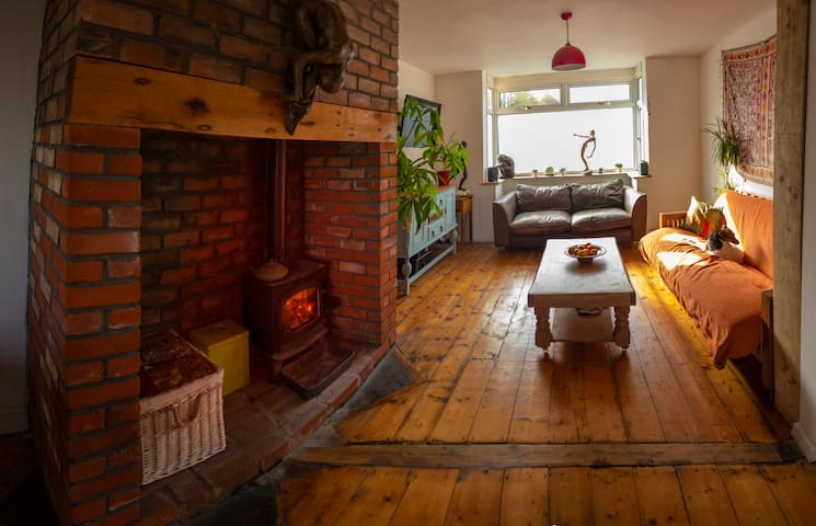 Creative & comfy house with wood burning stove