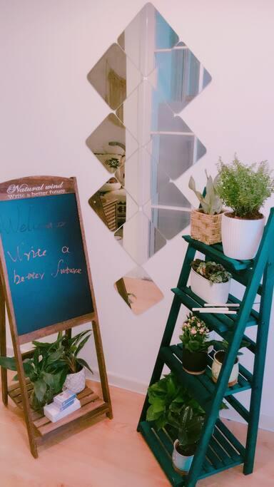 有了绿植,小黑板的陪伴,房间多了些许生机,个性镜子更是别有一番滋味在心头
