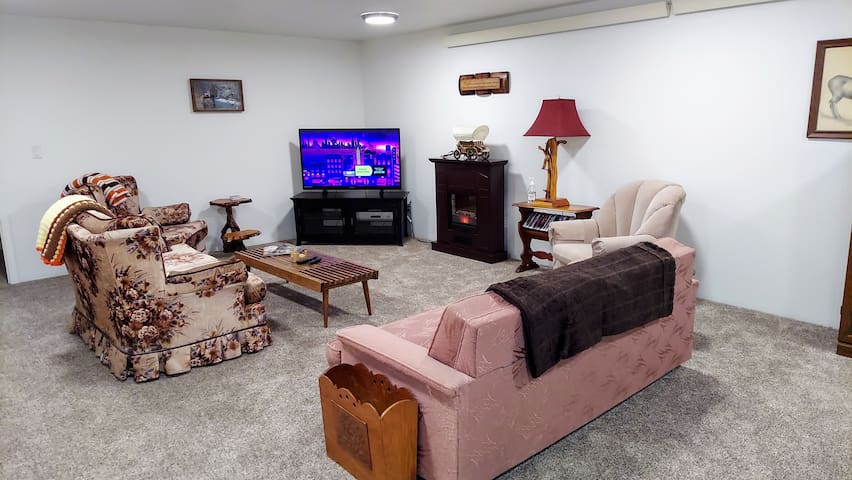TV viewing area with electric fireplace,  Roku HDTV, the couch is also a hide-a-bed.