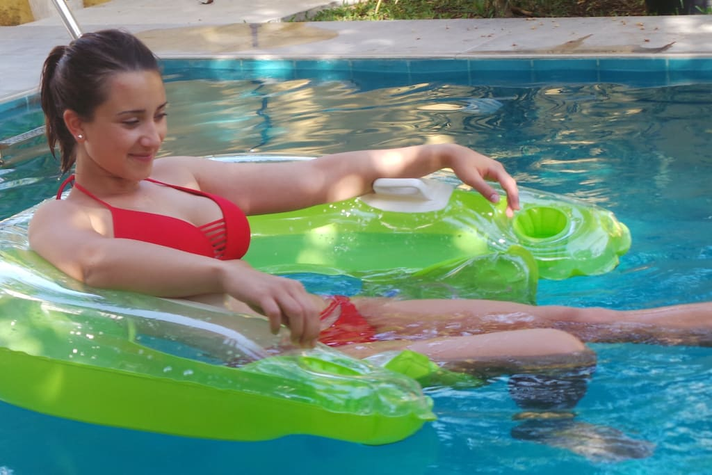 RELAX IN POOL WITH OUR GUEST VIRGINIA FROM ITALY