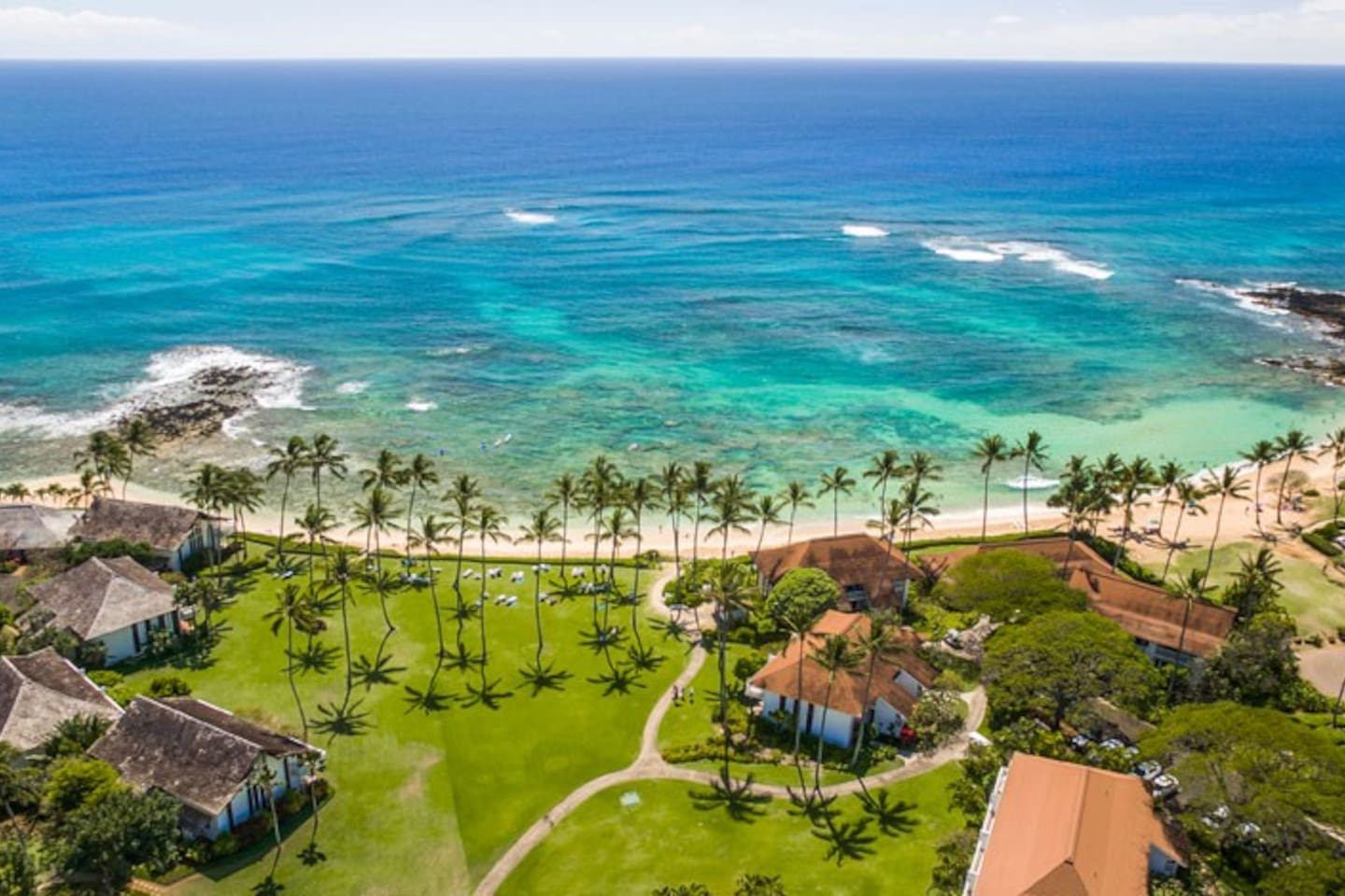 Our place is between the Sheraton and the Marriott on Kauai's sunny south side.  Wake up to the radiant Poipu sun shining where resort amenities meet authentic Hawaii lifestyle.
