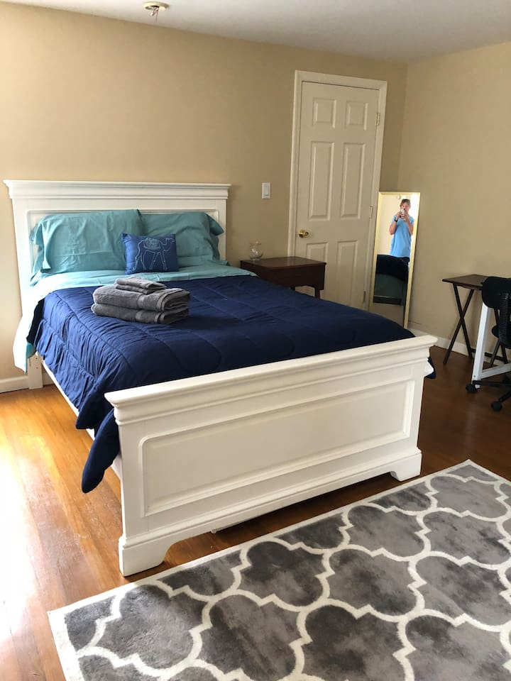 A new full size bed with headboard and footboard provide for a comfortable, well supported sleep.  The mattress is a pillow too mattress - not too firm - not too soft.  Super comfortable cotton sheets and comforters - new pillows for each guest.