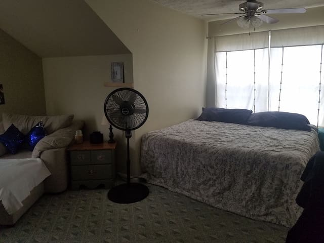 Private room 10 min from airport ..downtown& Track