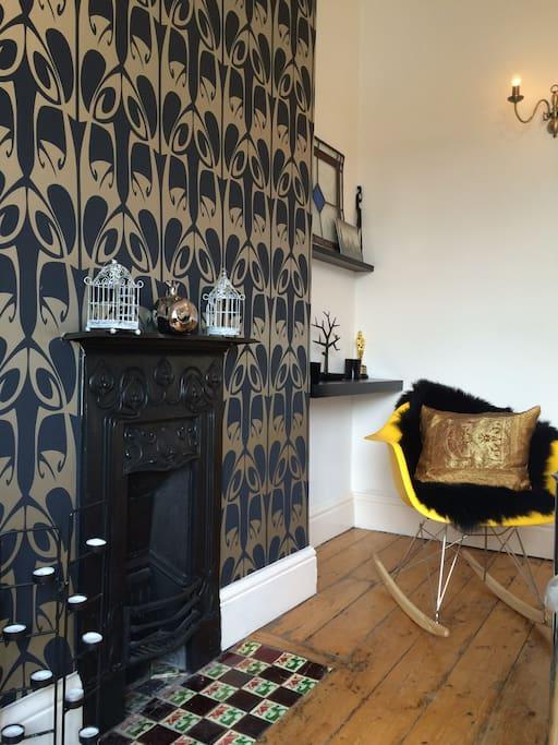 Eames rocker & Art Nouveau fireplace