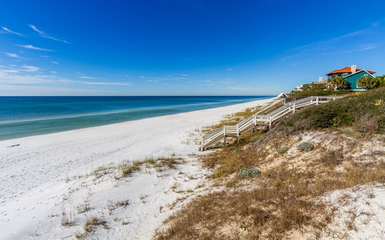 The San Juan public beach access is approximately 0.6 miles from the home