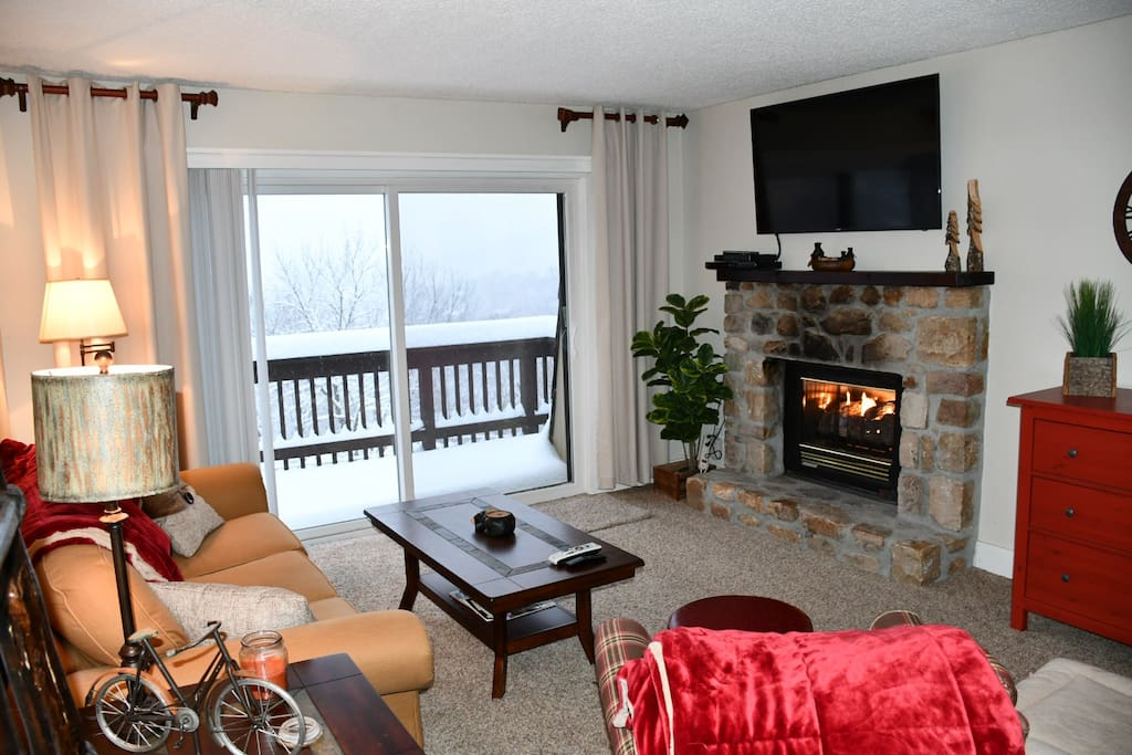 Sit in front of the fireplace and watch the snowfall...