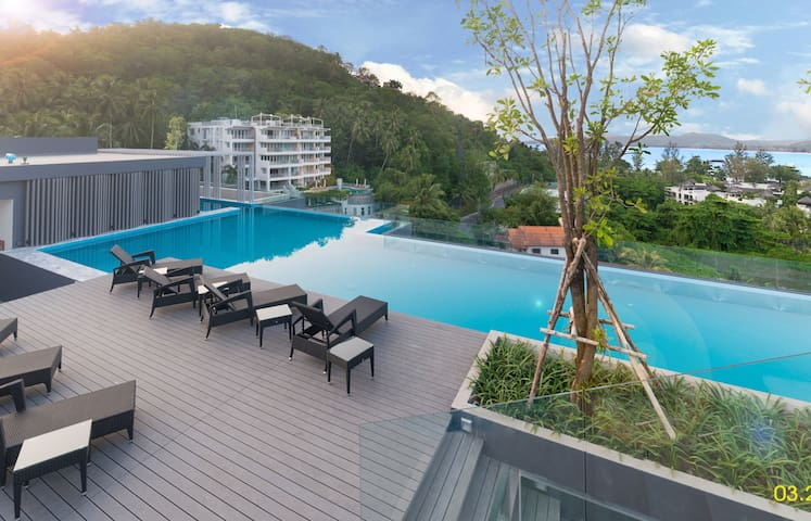 Amazing new apartment on top-floor ❤️ 5 min walk to the Surin Beach! (614C)