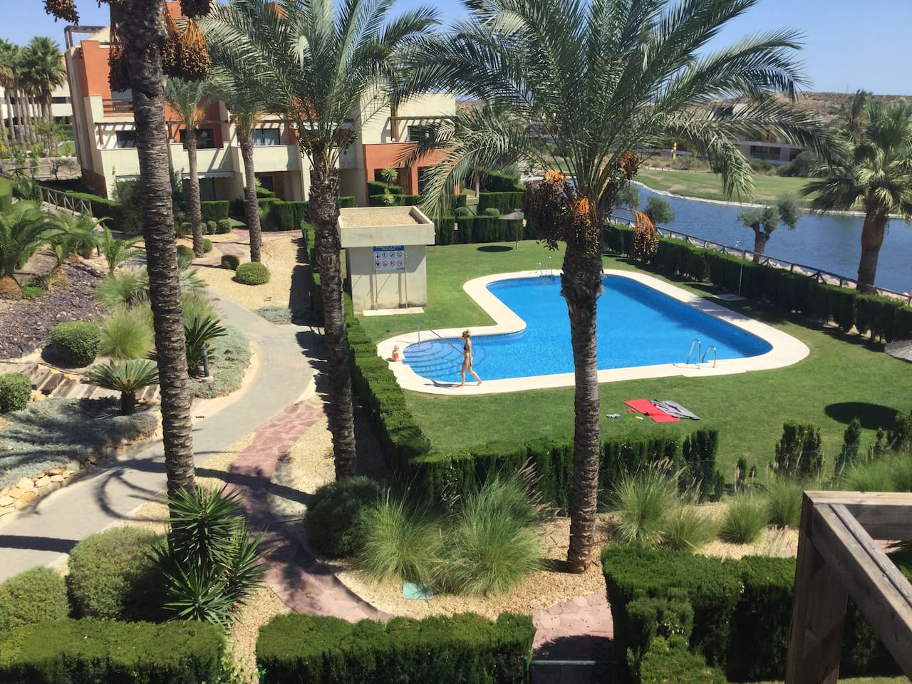 The view of the pool from the roof terrace. It is very near, so you can take a refreshing 'dip' whenever you feel like it!