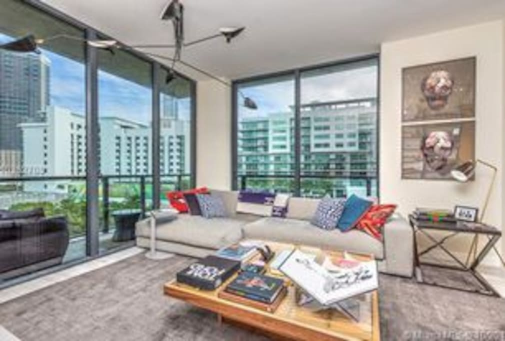 Living room with views of Brickell