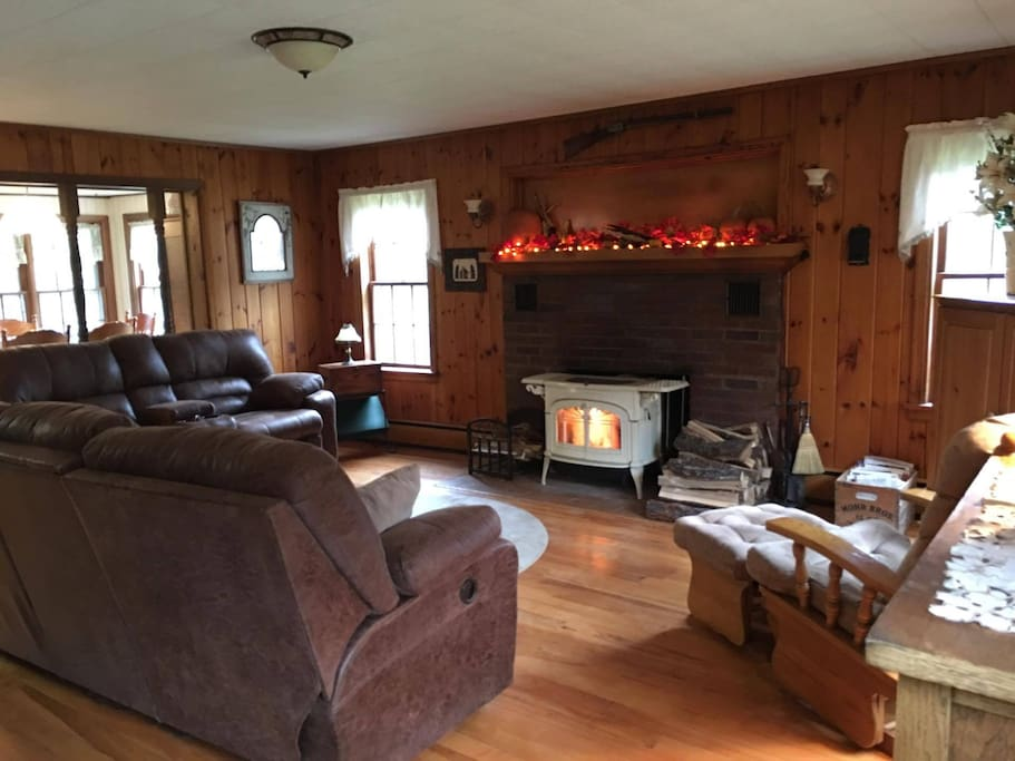 Shared living room with wood stove