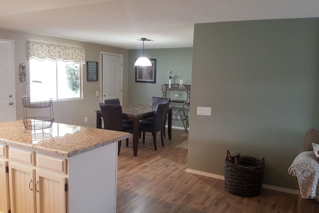 Sit down and eat with your family/friends in our feel like your home dining room.
