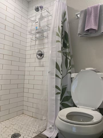 A stand up shower for the 2nd bedroom