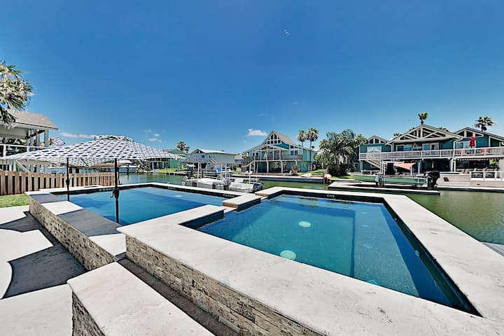 New Canal-Front Home w/ Private Pool, Spa & Dock!