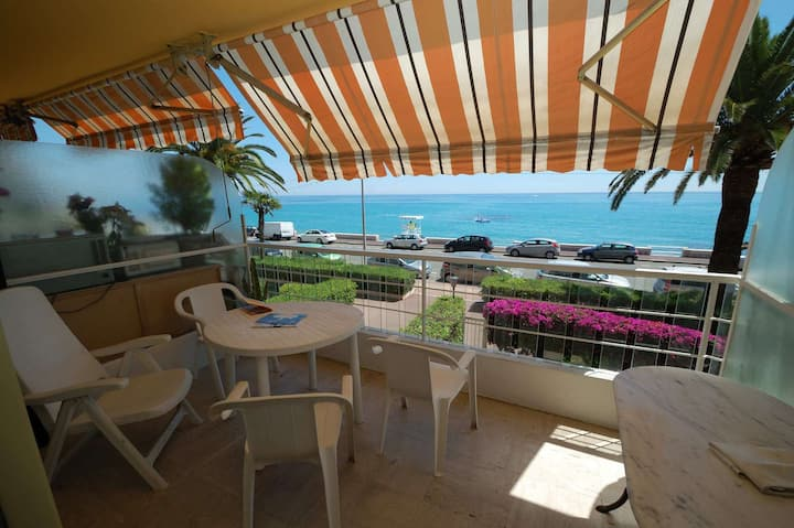 Beautiful 3 rooms apartment in front of the sea with terrace, swimming pool and garage