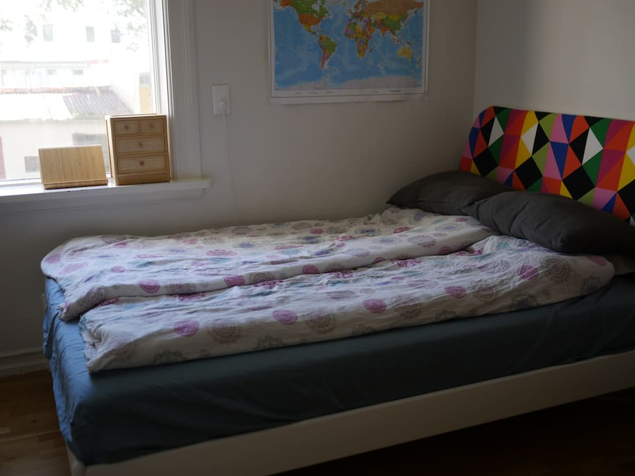 Our son's bedroom has a super comfortable 140x200 bed.