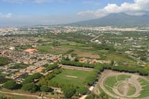Panoramic view from the bell tower of the church of Pompeii