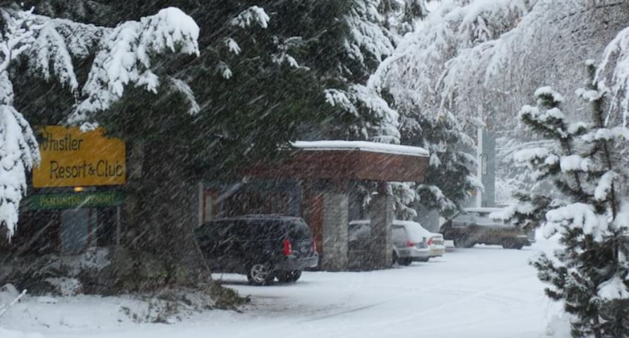 The building during a snowstorm, looking from the street.